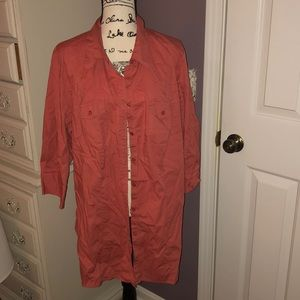 Tunic length pink/salmon button down short sleeve